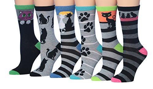 Tipi Toe Women's Ladies 6-Pairs Value Pack Funky Fashion Crew Dress Socks Novelty Socks, (sock size 9-11) Fits shoe size 5-9, WC51-A