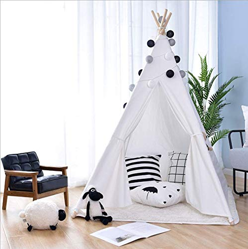Vanimeu Foldable White Teepee Tent with Floor Mat Cotton Canvas Tipi Tent Indian Wigwam Play Tent for Kids Boys Indoor Outdoor (White)