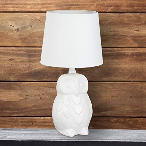 Relaxdays Tischlampe Eule, Design Nachttischlampe mit Stofflampenschirm, Leselampe aus Keramik 40 cm hoch, weiß
