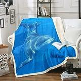 Loussiesd Manta de felpa con diseño de delfín para sofá, cama, sofá, decoración de criaturas marinas, sherpa, playa, acuario, color azul cielo, manta para cama individual, 127 x 152 cm