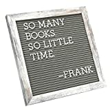 C Crystal Lemon Letter Board by Crystal Lemon, Felt Letter Board, 10x10 inches, Changeable Wooden Message Board Sign, Wood Frame, Wall Mount, with Display Stand (Rustic Gray)