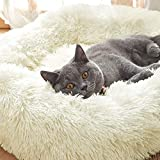 Uozzi Bedding Plush Faux Fur Round Pet Dog Bed, Comfortable Fuzzy Donut Cuddler Cushion for Dogs & Cats, Soft Shaggy and Warm for Winter (Beige, 23.6')