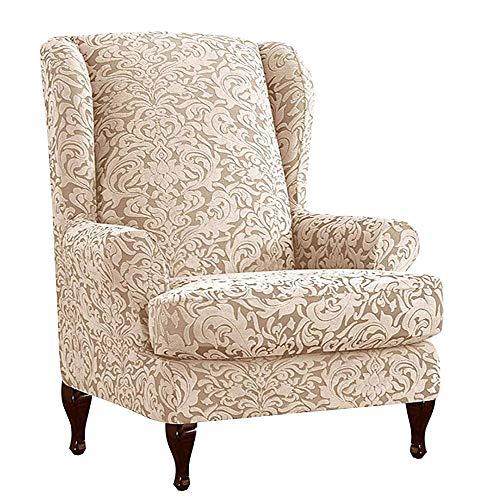 cardalone Sesselbezug Ohrensessel,Ohrensessel Bezug Elastische Jacquard Sesselbezug Sessel-Überwürfe Sesselhusse Elastisch Stretch Husse für Ohrensessel (Khaki)