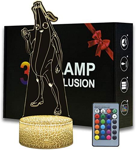 3D niños luz de la noche animal ilusión óptica Peely USB lámpara de mesa muñeca decoración luz 16 color llevó la noche luz casa