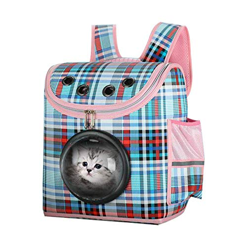 ZGYQGOO Transportbox, Space Capsule Bubble Design, Katze Hund Welpen Reisen Wandern Camping Transportbox Rucksack, Wasserdichter Rucksack mit weicher Seite für Katzen und kleine Hunde, Blau