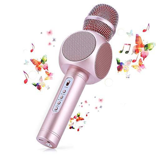 HTMSR Microfono Karaoke Bluetooth Wireless Fede + Altoparlante Bluetooth con 2 Casse Incorporate, Karaoke Portatile per Cantare, Funzione Eco, Compatibile con Android/iOS, PC O Smartphone,Rosa