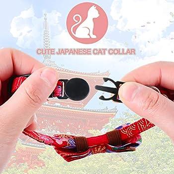 3 Pièces Collier de Chat Japonais Collier de Chat Kimono Rouge Imprimé Fleurs de Cerisier avec Noeud Papillon Cloche Réglable pour Chiot Chaton, 1 Taille Convient à la Plupart des Animaux