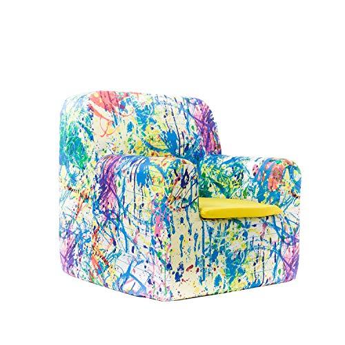 SLEEPAA Sillon bebe 1-4 años Desenfundable Lavable Resistente Seguro Ligero Cómodo Decoracion muebles niños Fabricado en España 40x40x42 cm (Pollock) 🔥