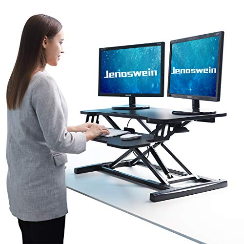 JENOSWEIN Height Adjustable Standing Desk for Dual Monitor 32' Wide Sit to Stand Desk Converter with Removable Keyboard Tray