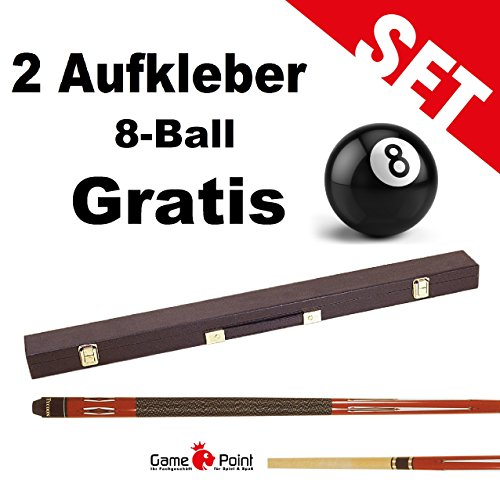 Top-Angebot!!! Billardqueue Tycoon, TC-1 rot, Länge ca. 147 cm, 2-tlg. mit Koffer Standard 1/1 schwarz + 2 Aufkleber 8-Ball Gratis