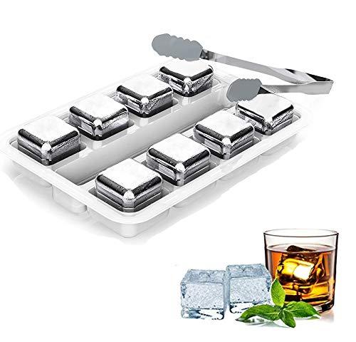 Fitsund Whisky Eiswürfel Steine, Eiswürfel Wiederverwendbare , Lebensmittelecht Edelstahl Ice Cubes Kühlsteine, Geschwindigkeit Eingefroren Eiswürfel Geschenke mit kostenloser Zange, 8 Stück