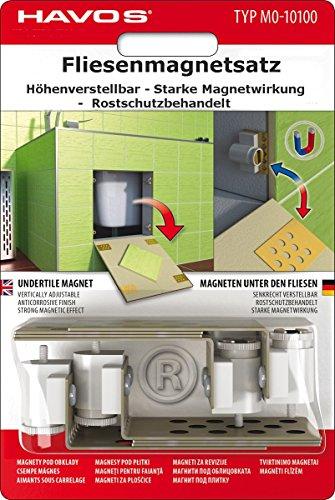 Fliesenmagnetsatz-Fliesenmagnete, höhenverstellbar, 8-teilig, zum unsichtbaren Verschliessen von Kontrollöffnungen. Für jedes Fliesenformat.