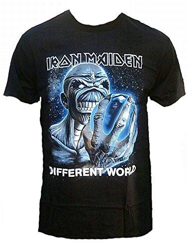Iron Maiden–Maglietta da uomo nero Different World Official Merchandise Eddie Killer Skull Rock Star Tour Tshirt Club VIP Rock Star Design nero nero m
