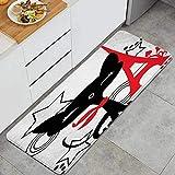 Decor del Hogar Espuma de Memoria Anti Fatiga Alfombrilla de Cocina,Colorido Francia Negro Rojo Parques Gatito Aire Libre Awaresome Aisla,Comodidad Oficina de Pie Alfombra Antideslizante,120 x 45cm