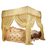 JQWUPUP Princess Bed Curtains Canopy, Lace Ruffle 4 Corner Post Mosquito Net for Bed, Bed Canopy for Girls Kids Toddlers Crib Adult, Bedding Décor (Queen, Beige)