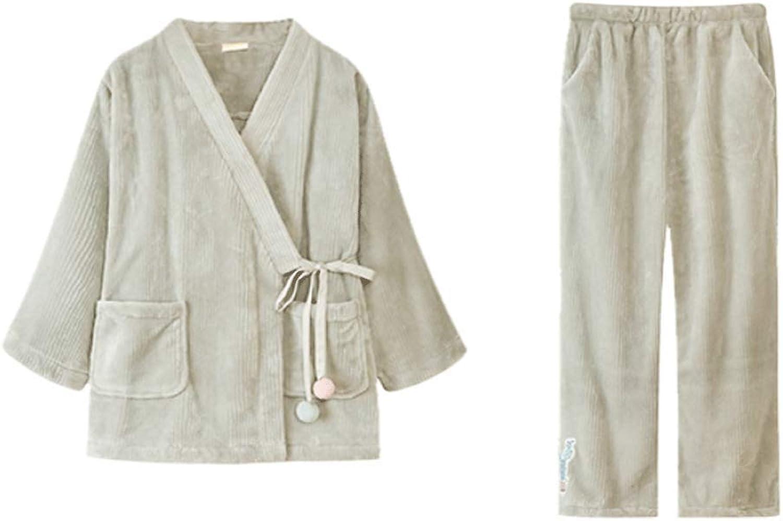 Ladies Pajama Set Flannel Pajamas Sweet Japanese Kimono Long Sleeve Tie Home Furnishing Set (color   Fruit Green, Size   XXL)