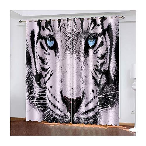 Daesar Paire Rideaux Occultants, Rideau Fenêtres Noir Gris Rideau 3D Chambre Leopard Rideaux Fenêtres Chambre 107x183CM