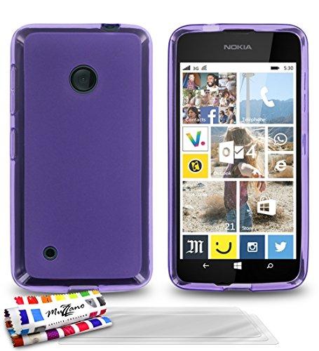 MUZZANO Le Glossy - Cover Morbida Ultra Sottile per Nokia Lumia 530, con 3 pellicole Proteggi Schermo UltraClear Viola