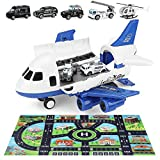 Airplane Toy for Toddlers,Police Large Transport Cargo Airplane- Vehicle Mat, Diecast Mini Toy Cars Helicopter for 1 2 3 4 Years Old Boys Gift Toy