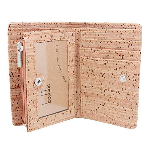 Boshiho Kork Geldbörse, Nachhaltig Geldbeutel mit RFID-Blockierfunktion Brieftasche aus Kork Portemonnaie Vegan mit Reißverschluss Kreditkartenfächern ID-Fenster, Unisex, Vegan Geschenk(Kork 1)