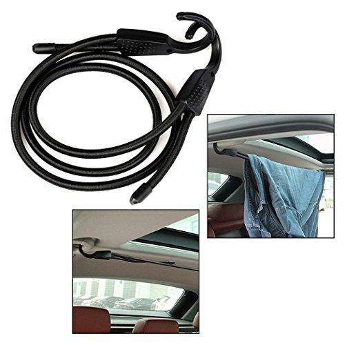 OFKPO Verstelbare haak spankabel, waslijn/bagagetouw voor auto's, camping, koffer(zwart)