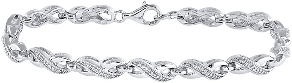 Diamond Solid 925 Sterling Silver Ctw. Infinity .0 Max 87% OFF Bracelet .01 Max 50% OFF