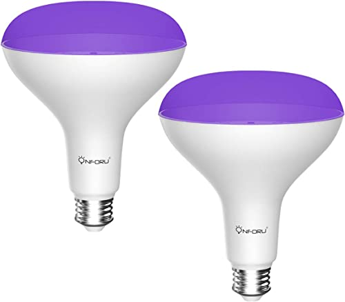Onforu 2 Pack 15W UV LED Black Light Bulbs, BR30 E26 Black Light Bulb for Glow in The Dark, 385-400nm, UV Blacklight ...