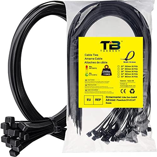 Kabelbinder, Kabelbinder Schwarz 600 mm x 12,4 mm, TDEBSSY 30 Stück Kabelbinder Wiederverschließbar Set, Premiumqualität UV-beständiges Set, Kabelbinder Set mit 113 kg Zugfestigkeit