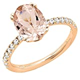 Little Treasures 14 ct Rose Gold 8X6 MM Oval Genuine Morganite & Round Diamond Bridal Bridal Engagement Ring