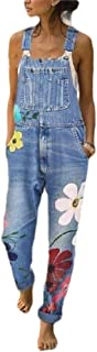 Howely Womens Denim Casual Weekend Pocket Relaxed Floral Printed Overalls