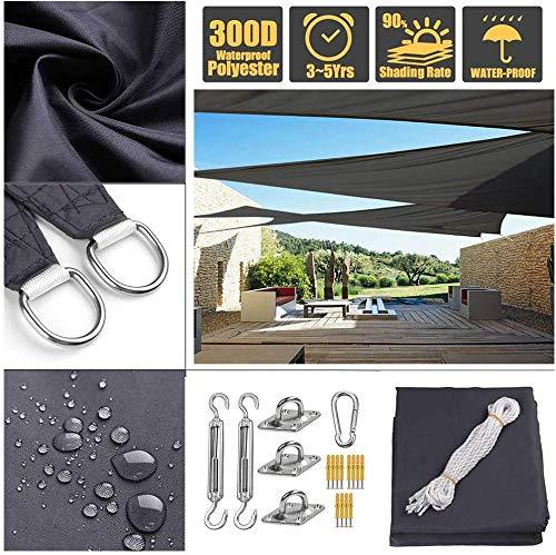 Beirich - Toldo impermeable para toldo de vela (resistente a los rayos UV), color negro, con kit de instalación de acero inoxidable antioxidante, para patio al aire libre, 10'X10'X10'(3mX3mX3m)