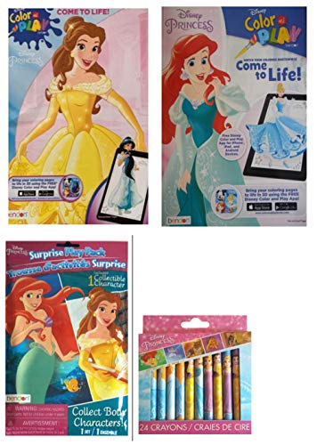 Color and Play Disney Princess Come to Life! - 2 Coloring Activity Books Bundle Disney Princess Surprise Play Pack and 24 Disney Princess Crayons - TG-18