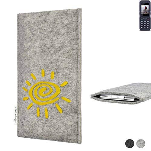 flat.design Handy Hülle für bea-fon AL250 FARO mit Sonne Filz Schutz Tasche Etui Made in Germany fair