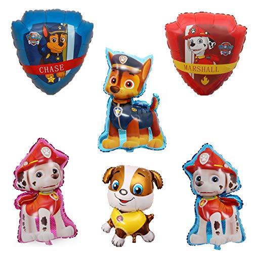 SUNSK Paw Dog Patrol Globos Foil Cumpleaño Balloons Decorar Fiestas Suministros Party Decoración Niños Regalo 6 Piezas
