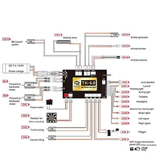 TOOGOO 1/16 RC Auto Fern Bedienung 6.0 Funktion Mainboard + 2.4G Sender Fern Bedienung System Set für Heng Long RC Panzer Modell RM79