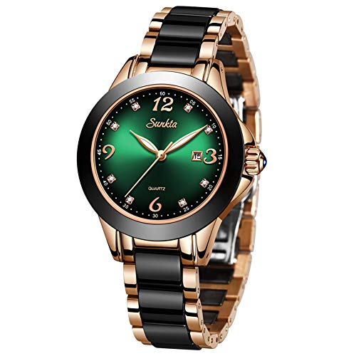 LIGE Moda Señoras Reloj de Pulsera Impermeable Cuarzo Reloj de Pulsera para Mujer Acero Inoxidable Pulsera Velar por Chica (Green)