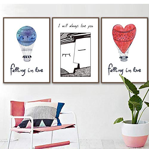 LLXHG Meisjes slaapkamer wanddecoratie Modern balloon Lover and Letters Canvas Painting Fashion Nordic Style A4 Poster Art-40X60Cmx3 zonder lijst