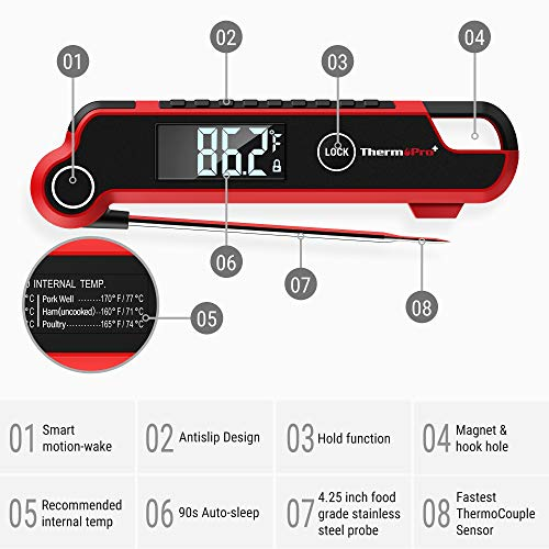 ThermoPro TP620 Digital Instant Read Meat Thermometer Used by Professional Chefs for Deep Fry BBQ Smoker Grill Cooking Candy Food Thermometer