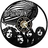 WTTA Reloj de Pared de Vinilo Creativo Reloj de Pared de Vinilo Retro led Zeppelin con decoración de Reloj Regalo con LED