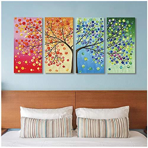 HSFFBHFBH Bild auf Leinwand Bunter Glücksbaum Druck Vier Jahreszeiten Leben Baum Familie Poster Blatt Baum Home Decor Wandkunst Gemälde 30x60cm (12