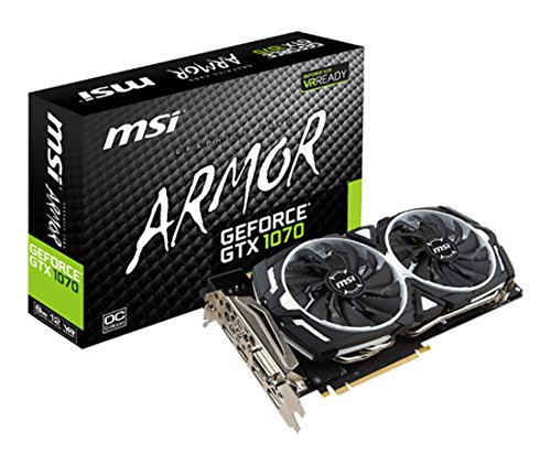 MSI NVIDIA GTX 1070 Armor 8G OC Grafikkarte (HDMI, DP, DL-DVI-D, 2 Slot Afterburner OC, VR Ready, 4K-optimiert)
