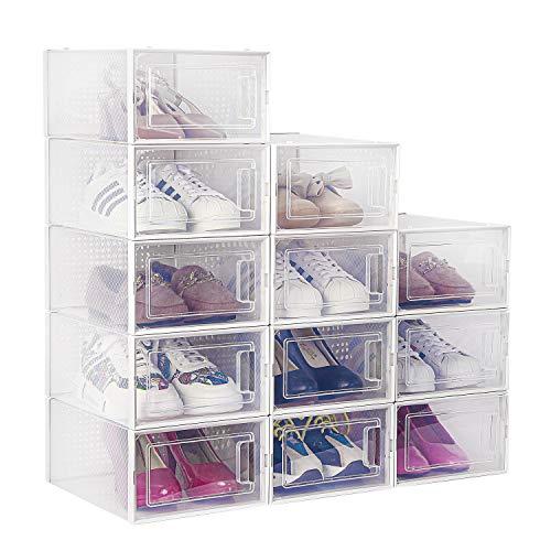 amzdeal Cajas de Zapatos Plásticas 12 Pcs - Organizador de Zapatos Transparente, Apilable y Impermeable, Caja de Almacenamiento Plegable, Ahorra Espacio, Zapateros para Hombres y Mujeres 33×23×14cm