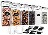 Cereal Container Set, VERONES 6 Pack Cereal Dispensers, 4L/132.5OZ BPA Free Airtight Food Storage Container for Cereal, Flour, Sugar, with 2 measuring cups, 1marker pen and 20 reusable labels.