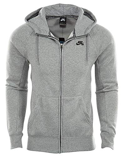 Nike Men's SB Icon Full Zip Skateboarding Hoodie (Large, Heather Grey)