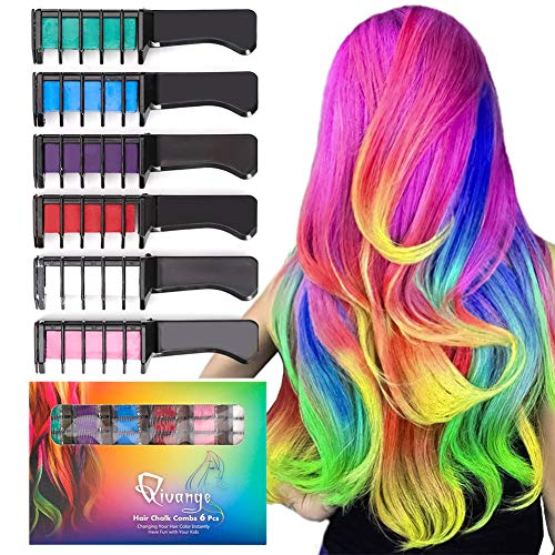Qivange Hair Chalk Combs, 6 Pcs Non-Toxic Temporary Hair Colour Chalk for...