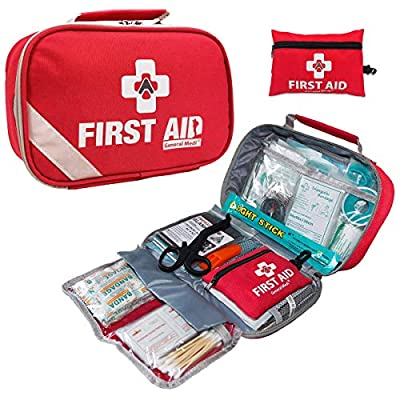 General Medi 2-in-1 First Aid Kit (215 Piece) + Bonus 43 Piece Mini First Aid Kit -Includes Eyewash, Ice(Cold) Pack, CPR Respirator, Moleskin Pad and Emergency Blanket for Travel, Home, Office, Car