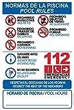 akrocard - Cartel Resistente PVC - NORMAS DE PISCINA + POOL RULES - Señaletica de informacion - señal Ideal para Colgar y Advertir