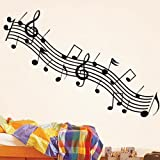 BestOfferBuy Music Musical Notes Treble Stave Removable Wall Sticker Decal