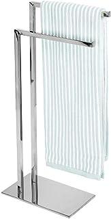 mDesign rangement serviettes – porte-serviette autoportant à 2 tringles pour petites et grandes serviettes – porte-serviet...