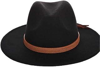 Fashion Sun Hat for Fedora Men Women Hat Wool Felt Leather Woven Belt Classical Wide-Brimmed Autumn Winter Fedora Suitable for hot Weather Season (Color : Black, Size : 56-58CM)